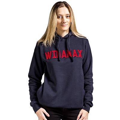 Sudadera con capucha azul marino letras rojas Winamax