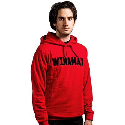 Sudadera con capucha hombre roja letras negras