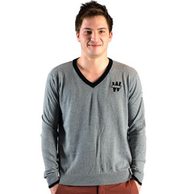 Suéter gris de algodón cuello V gris