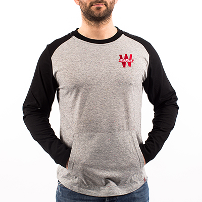 Camiseta manga larga hombre - Gris y negro