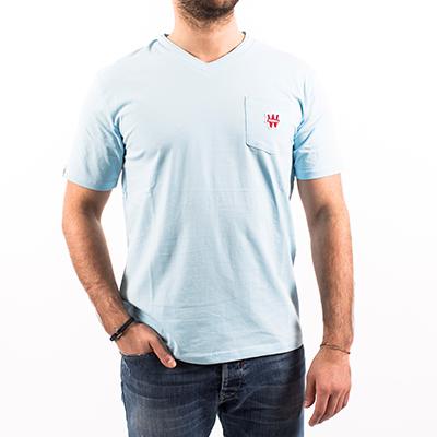 Camiseta hombre cuello V - Azul cielo